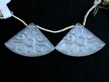 Natural Flashing White Moonstone Carved Fan Fancy Briolette Pair Beads (29035)
