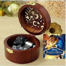 CIRCLE WOOD SILVER WIND UP MUSIC BOX : BEAUTY AND THE BEAST