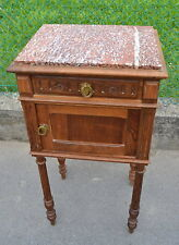 Comodino '800 Napoleone III stile Luigi XVI marmo rosso noce massello patina+