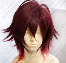 TT-426 Amnesia Shin Cosplay Costume short dark red mix Wig