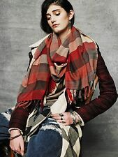 Artist Handwoven Red Brown Ivory PLAID Long Fringe SCARF Shawl Wrap Stole