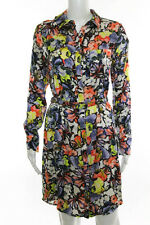 Erdem Multi Color Long Sleeve Belted Shirt Dress Size 4 New $1310 111011