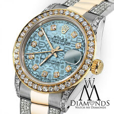 Ladies 26mm Rolex Oyster Perpetual Datejust Jubilee Ice Blue Diamond Accent