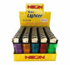 50 Neon Brand Disposable Lighters Butane Cigarette Cigar Bulk Wholesale Lot