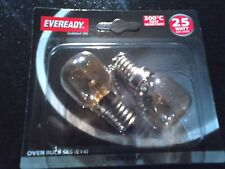 2 x 25W EVEREADY 25 WATT OVEN MICROWAVE BULB SCREW LIGHT E14 SES