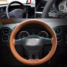Brown DIY Car PU Leather Steering Wheel Cover Protector Needle+Thread 38cm