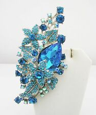 """Joan Rivers Faceted Crystal & Star Pendant Necklace/Brooch 4""""  22""""  TEAL"""