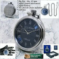 SILVER Antique Style Mens Open Face Quartz Pocket Watch with Chain Gift Box P127