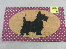 Hardwearing printed coir doormat black Scotty dog 40x70cm brand new
