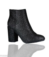 Ladies Womens Glitter Chunky Block Low Heel Ankle Boots Chelsea Party Shoes Size