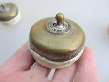 Vintage Light Switch Brass & Ceramic Art Deco 1920's Antique Slick Made England