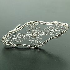 Antique Art Deco 14k White Gold Old Diamond Open Milgrain Filigree Brooch Pin