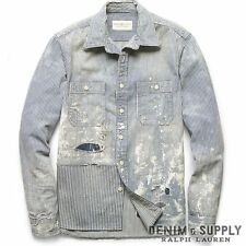 $198 Denim&Supply Ralph Lauren  Indigo Dyed TOMPKINS DENIM WORK SHIRT- MEN- XL