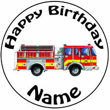 "Personalised Birthday Cartoon Fire Engine Round 8"" Easy Precut Icing Cake Topper"
