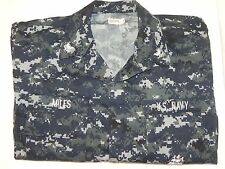 New NWOT US Navy Working Shirt Uniform NWU Blue Digital Camo Medium Regular BDU
