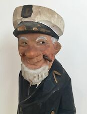 "VTG Wooden Folk Art Sea Captain Fisherman Signed Ely Hannah 11 1/2"" Nautical"
