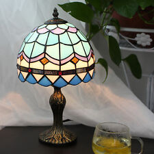 """Tiffany Style Stained Glass Handcrafted Mediterranean Table Lamp Button Switch8"""""""