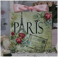 """Paris & Roses"" Vintage~Shabby Chic~Country Cottage style ~ Wall Decor Sign"