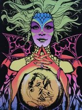 Vintage Blacklight Poster Fortune Teller Gypsy Woman Psychedelic 1970's Pin-Up