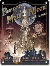 Blast off! New Moon Rocket Steampunk Gothic Alchemy Empire, Small Metal/Tin Sign