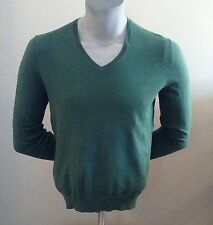 NWT Benetton Men's Green Cotton Blend V Neck Long Sleeve Sweater Size L