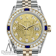 Women's Rolex 31mm Datejust Champagne Gold Dial with Sapphire & Diamond Watch