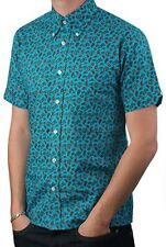 Art Gallery Clothing - Short Sleeve Fitted Shirt- GREEN PAISLEY M  Mod Sixties