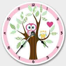 Wall Clock MOD OWL Nursery Art Baby Toddler Girl Custom Room Decor