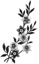 Flowers  - Black, Gray, Silver -  Embroidered Iron On Applique Patch - Right
