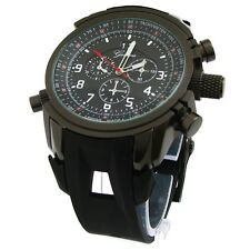 Black Gun Geneva Watch Round Heavy Case Hard Rubber Oversized Sport Men's Wrist