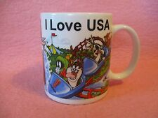 I Love USA Six Flags Looney Tunes Ceramic Coffee Mug Cup Linyi