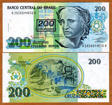 Brazil - 200 Cruzeiros overprinted UNC currency note  - 1990 issue