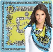 "VERSACE aqua BLUE gold SEASHELLS & MERMAIDS large LOGO Silk 35"" scarf NWT Authen"