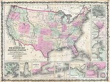 GEOGRAPHY MAP ILLUSTRATED ANTIQUE JOHNSON MILITARY USA CIVIL WAR POSTER BB4342A
