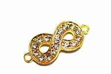 4pc Gold Infinity Rhinestone Connector Charm