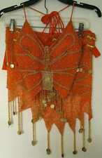 New_Belly Dance Butterfly Beaded w/Coins Set_Orange