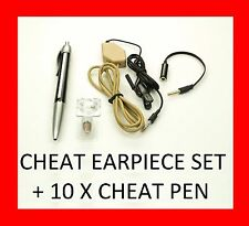 ULTIMATE SPY EARPIECE SET + 10 x CHEAT PEN - STUDENT CHEATING NECKLOOP FOR EXAMS