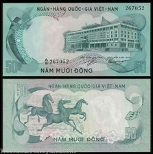 VIETNAM SOUTH 50 DONG P30 1972 3 HORSE UNC WILD ANIMAL CURRENCY MONEY BANK NOTE