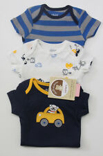 Carter's Child of Mine 3 pack Bodysuits ~0-3 Months ~ Cars~ Blue, Yellow & White
