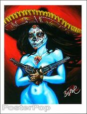 "BigToe Termino Feliz Signed 8.5x11"" Giclee Print Sexy Nude Day of the Dead Guns"
