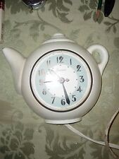 Art Deco White Teapot Electric, Sessions Kitchen Clock Model Self Starting 2W