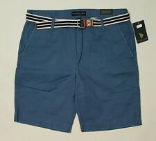 U.S. POLO ASSN. Twill Shorts Flat Front with Belt Mens Size 42 NWT New