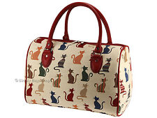 Woven Tapestry Travel Holdall Weekend Handbag / Bag In Cheeky Cat Design