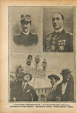 Victor Emmanuel III of Italy & Duke of the Abruzzi War WWI 1915 ILLUSTRATION