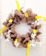 Handmade Welcome Spring Brown Burlap Wreath with Yellow Flowers