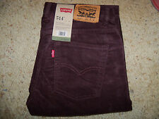 LEVIS 514 SLIM STRAIGHT CORDUROY JEANS BOYS SZ 18 REG -BROWN- NWT