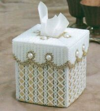 GOLD RIBBON TISSUE BOX COVER PLASTIC CANVAS PATTERN INSTRUCTIONS