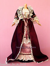 1800's Victorian Mauve Nightgown Burgundy Robe Rose Lace Fashion for Barbie Doll