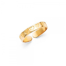 14K SOLID YELLOW GOLD Heart Toe Ring Adjustable - Love Polished Round Band Women