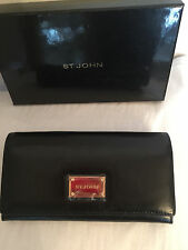 NEW ST JOHN KNIT BLACK  LOGO SMOOTH LEATHER WALLET CLASSIC